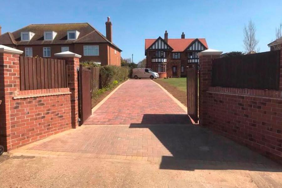 Brick Weave Driveway - Patience and Hilliard Builders in Norfolk