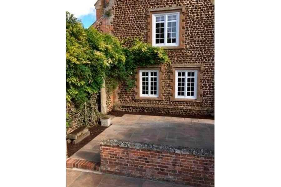 Small Wall with Paving Slabs - Patience and Hilliard Builders in Norfolk